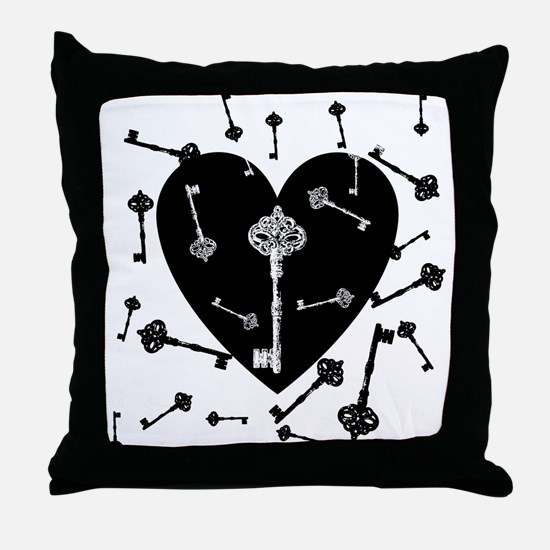 Heart And Keys Throw Pillow