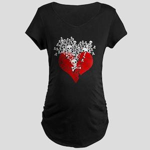 Broken Heart With Skulls Maternity Dark T-Shirt