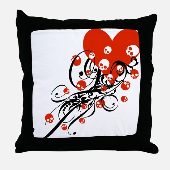 Heart With Skulls And Swirls Throw Pillow