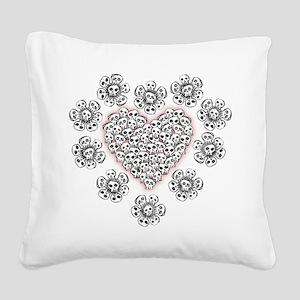 Skull Heart N Flowers Square Canvas Pillow