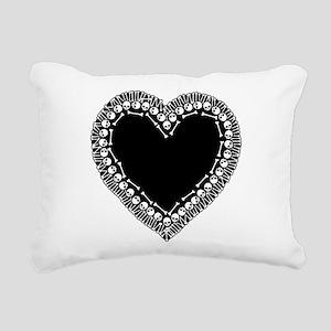 Pretty Skull Heart Rectangular Canvas Pillow