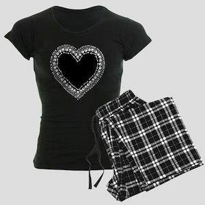 Pretty Skull Heart Women's Dark Pajamas