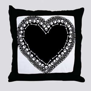 Pretty Skull Heart Throw Pillow