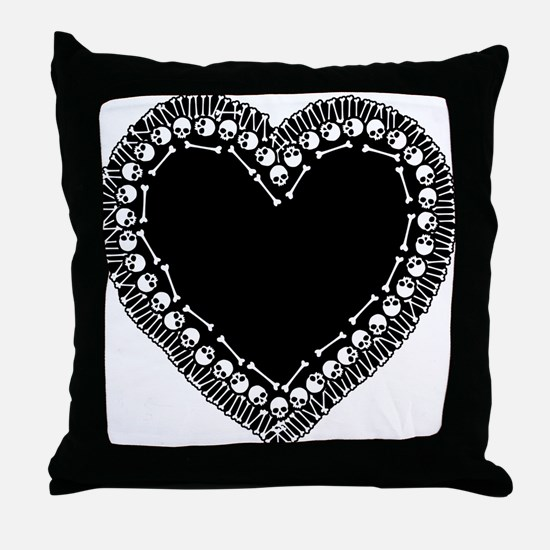 Pretty Skull Heart Throw Pillow