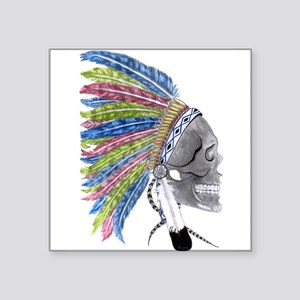 Colorful Native American Headdress Square Sticker