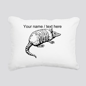 Custom Armadillo Sketch Rectangular Canvas Pillow