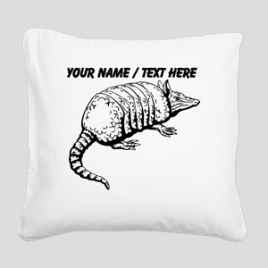 Custom Armadillo Sketch Square Canvas Pillow