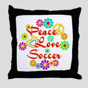 Peace Love Soccer Throw Pillow