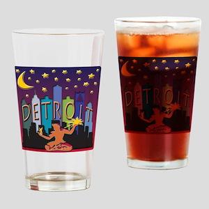 Detroit Skyline Mega Color Drinking Glass