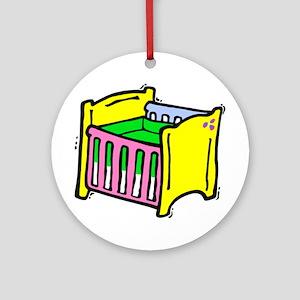 baby crib colorful graphic Ornament (Round)