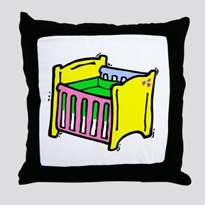 baby crib colorful graphic Throw Pillow