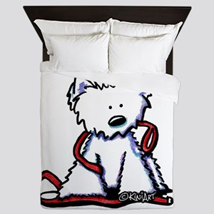 Westie With Leash Queen Duvet