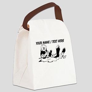 Custom Sea Otter Sketch Canvas Lunch Bag