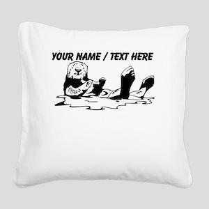 Custom Sea Otter Sketch Square Canvas Pillow