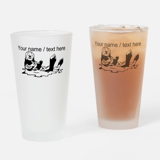 Custom Sea Otter Sketch Drinking Glass