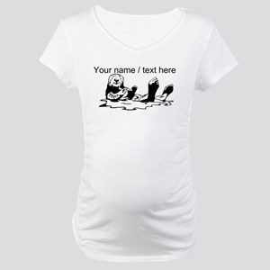 Custom Sea Otter Sketch Maternity T-Shirt