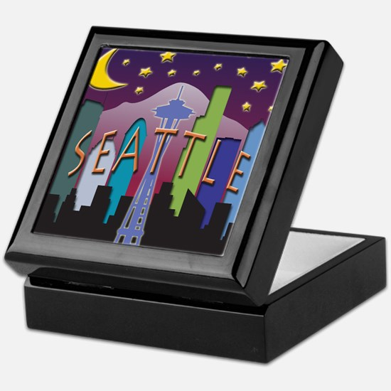 Seattle Skyline Mega Color Keepsake Box