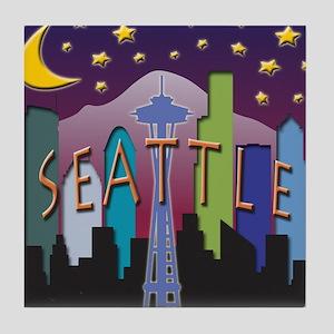 Seattle Skyline Mega Color Tile Coaster