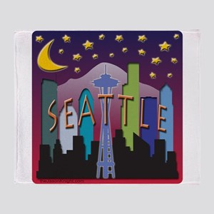 Seattle Skyline Mega Color Throw Blanket