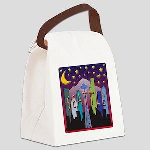 Seattle Skyline Mega Color Canvas Lunch Bag