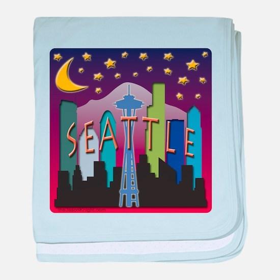 Seattle Skyline Mega Color baby blanket