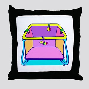 Playpen colorful graphic Throw Pillow