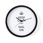 Keep Calm and Sail On Wall Clock