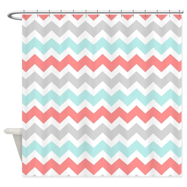 Coral Aqua Grey White Chevron Shower Curtain by DreamingMindCards