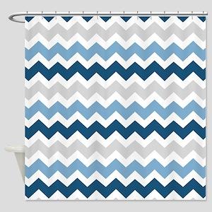 Navy Blue Grey White Chevron Shower Curtain