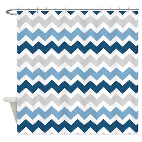 Navy Blue Grey White Chevron Shower Curtain By