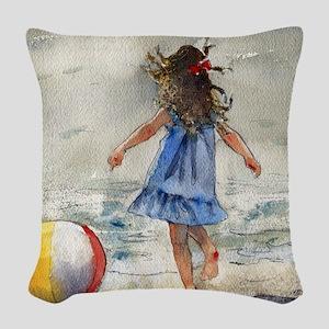 Beach Girl 2 Woven Throw Pillow