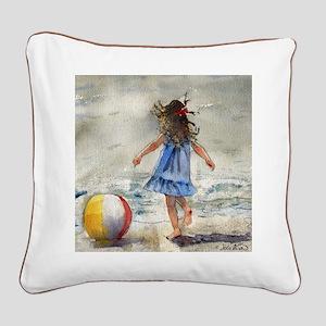 Beach Girl 2 Square Canvas Pillow