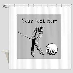 Customizable Golfer and Golf Ball Shower Curtain