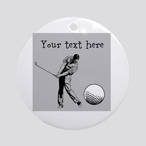 Customizable Golfer and Golf Ball Ornament (Round)
