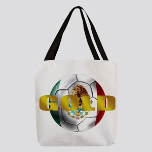 Mexico Soccer Gold Polyester Tote Bag