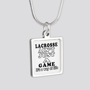 Lacrosse ain't just a game Silver Square Necklace