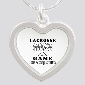 Lacrosse ain't just a game Silver Heart Necklace
