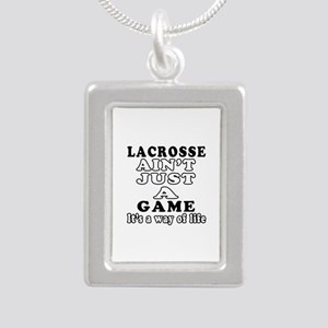 Lacrosse ain't just a game Silver Portrait Necklac