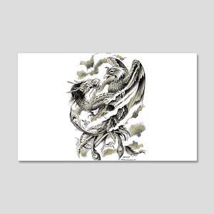 Dragon Phoenix Tattoo Art A4 Wall Decal