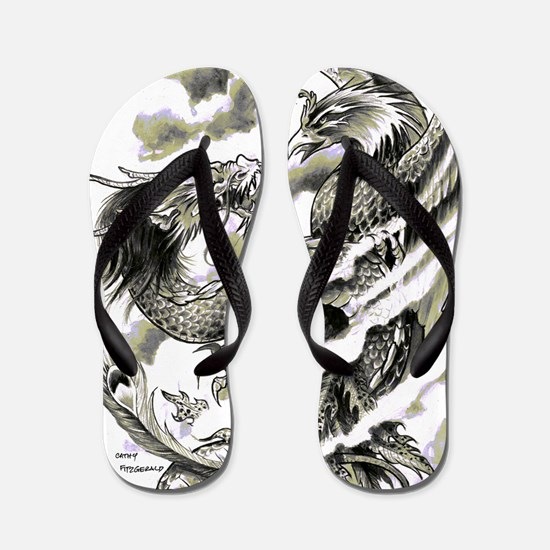 Dragon Phoenix Tattoo Art A4 Flip Flops