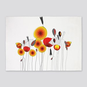 Contemporary California Poppies 5'x7'Area Rug