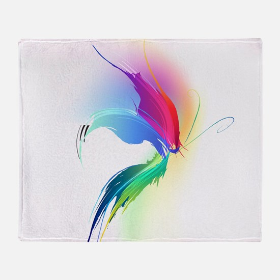Abstract Butterfly Paint Splatter Throw Blanket