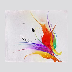 Abstract Bird of Paradise paint splatter art Throw