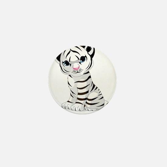 Baby White Tiger Mini Button