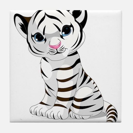 Baby White Tiger Tile Coaster