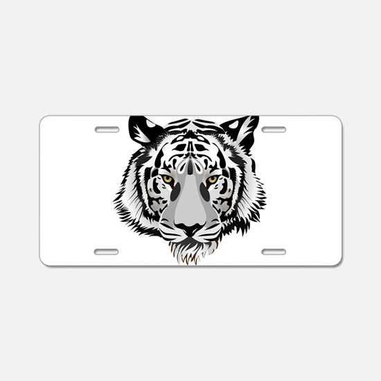 White Tiger Face Aluminum License Plate