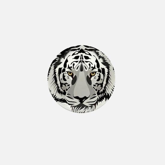 White Tiger Face Mini Button