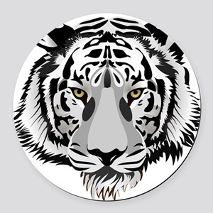 White Tiger Face Round Car Magnet