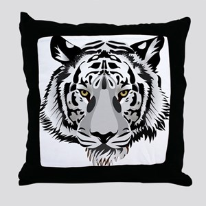White Tiger Face Throw Pillow