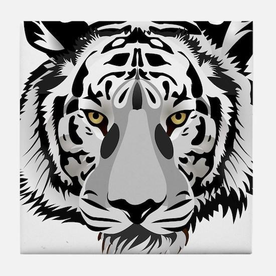 White Tiger Face Tile Coaster